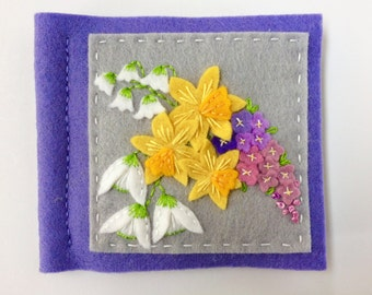 Hand embroidered wool felt needle book with pretty Spring flowers