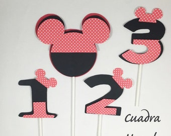 Mickey mouse centerpieces stick/ Mickey Mouse head/ Mickey mouse number/ Mickey mouse Birthday party