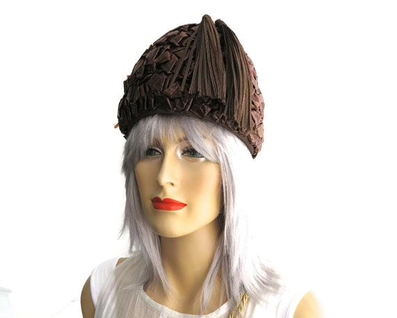 Vintage hat, chocolate brown woven cellophane straw with 2 long ribbon tassels, tall peaked hat, Moray, small size, 1960s