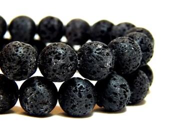 10mm Volcano Rock, Volcano Rock Beads, 10mm Lava Rock, Lava Beads, 10mm Black Beads, Black Stone Beads, Round Black Beads, 10mm Lava, B-6