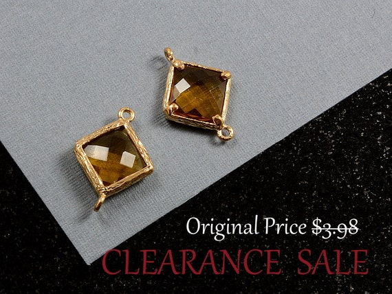 SALE - Light Brown/ Brown Topaz Framed Glass Bezel Diamond/ Square Shape Connector 12mm x 17mm in Gold Plating - 2 pcs/ order