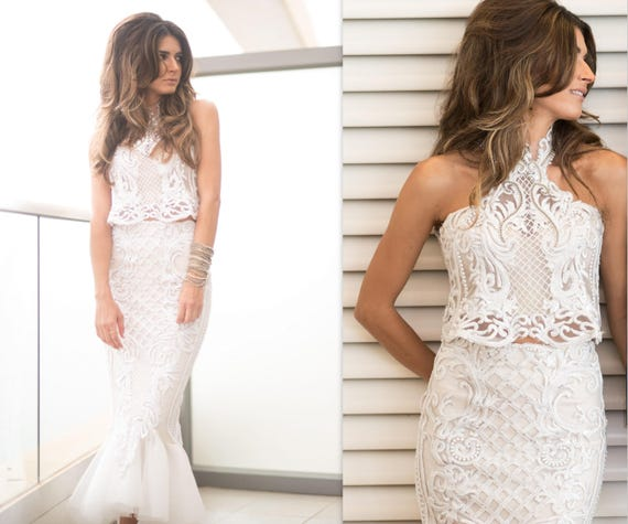 Mermaid Wedding Dress Lace 2 Piece