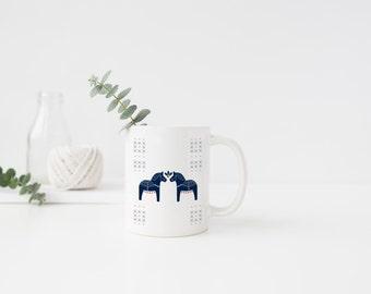 Coffee Mug, Coffee Cup, Dala Horse, Swedish Horse, Scandinavian Horse, Christmas, Christmas Mug, Merry Christmas, Holiday, Mug, Holiday Mug