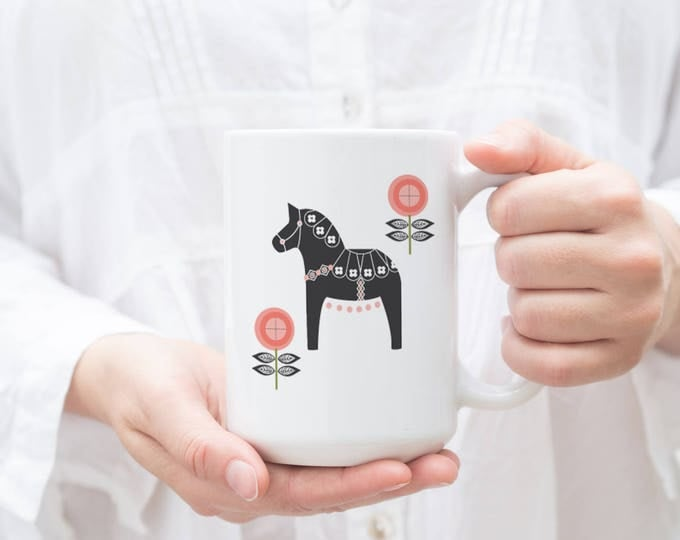Gray and Coral Floral Dala Horse Mug