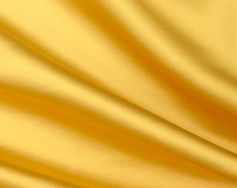 Plain cotton sateen fabric - Yellow - 100% cotton - 153 cm wide
