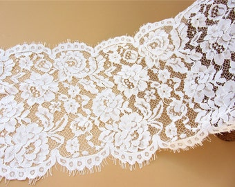 Chantilly corded Lace Fabric -3yards in 1pcs, Black Eyelash Lace Trim, Wedding Table Decor, Black Floral lace shawl