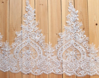 Alencon Sequins Lace,Bridal Veil Lace Trim Wedding Lace ivory by yard , Floral Embroidered Retro Lace 21 Inches Wide