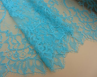 1yard bahama blue Skirts lace fabric,little cord Lace trimming,French Chantilly Lace ,Exquisite Eyelash Lace Trim,peacock blue lace