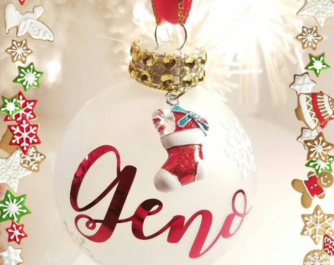 Merry Christmas Frosted Ornaments/Personalized name Ornaments.