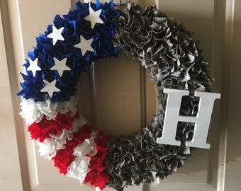 Patriotic red white blue American flag ABU Air Force custom wreath