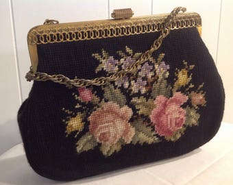 Vintage Black Needlepoint Floral Purse