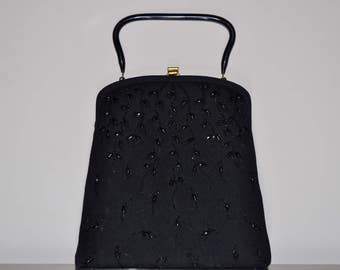 Vintage Soure' Bag  1950s  Black Wool Felt  & Jet Beaded Purse Bag-Cascading Leaves Design