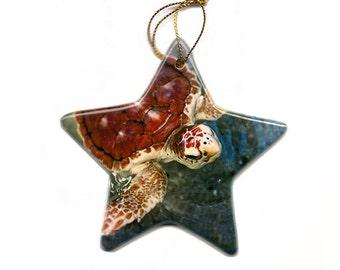 Loggerhead Turtle Christmas Tree Ornament Porcelain Star