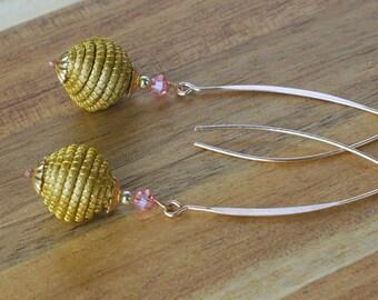 Rose Quartz Dangle Earrings, Brazilian Grass, Golden Grass Earrings, Straw Earrings, Organic Earrings, Handmade
