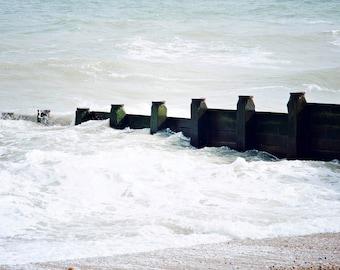 Seaside photograph, England, beach, waves, coastal print, original print Stone beach