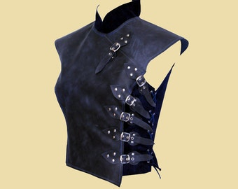 Asymetric soft leather armour in asian style