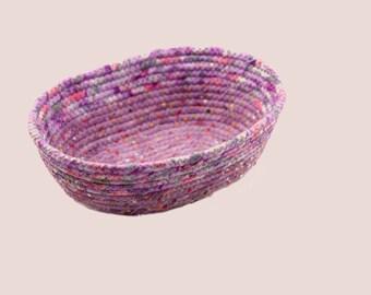 Coiled Rope Basket, Fabric Bowl, Fiber Art Basket Oval