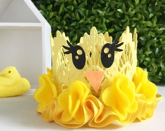 """Easter Chick    Yellow  Easter """"Peep"""" Lace Crown Headband    Felt Flowers + Satin Ruffle    Sparkly Eyes"""