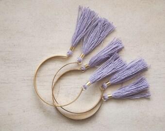 Tassel Bracelet - Lavender Purple Brass Cuff Bracelet, Olive Green and Gold Tassel, Stacking Bracelet, Bangles