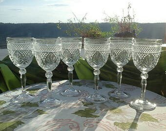Cristal D'Arques-Durand  Antique-Clear (Knob Stem) Water Goblet Set of 6
