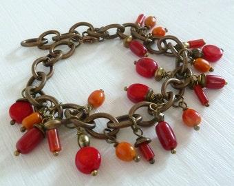 Red Fire vintage Korallenperlen Armband rot bronze
