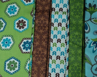 SALE!  Blue, Green and Brown Fabric Bundle, Stitch Fabric Bundle, Five 1-Yard Cuts of Fabric in Blue, Green, White and Brown