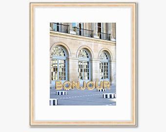 Bonjour Paris Photograph -- Palais Royal with Gold Balloons -- Travel Photography -- 8 X 10 Inch Print