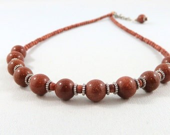 Goldstone Necklace. Goldstone and Tibetan Silver.  Short Necklace.  JemstoneZ.