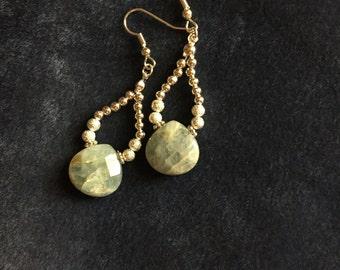 Natural aquamarine briolette dangle loop earrings