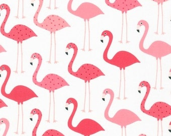 Fabric - Robert Kaufman - flamingo cotton print .