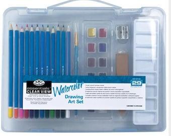 Artists WATERCOLOR Paint Travel Set 29 pc Complete. Watercolor Paint Set with Carry Case
