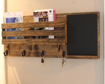 Dual Mail Holder With Chalk Board, Mail Organizer, Rustic Organizer, Key Holder, Mail Holder, Personalized Option Available
