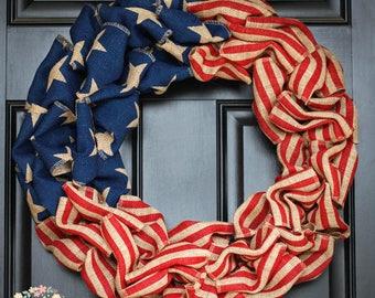 Patriotic Burlap Wreath, Americana Patriotic Burlap Wreath, Old Glory, Fourth of July Burlap Wreath, Memorial Day, Military, Freedom