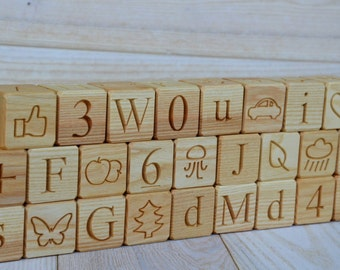 All in 1! 26 Wooden English Alphabet Blocks, ABC Wood Blocks, Christmas Gift, Wood Letter Cubes, Personalized Toy Blocks, Baby Shower