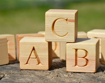 2'' large 26 Wooden Alphabet Block English ABC Blocks, Personalized Engraved Letter Cube,  Birthday or Baby Shower Gift