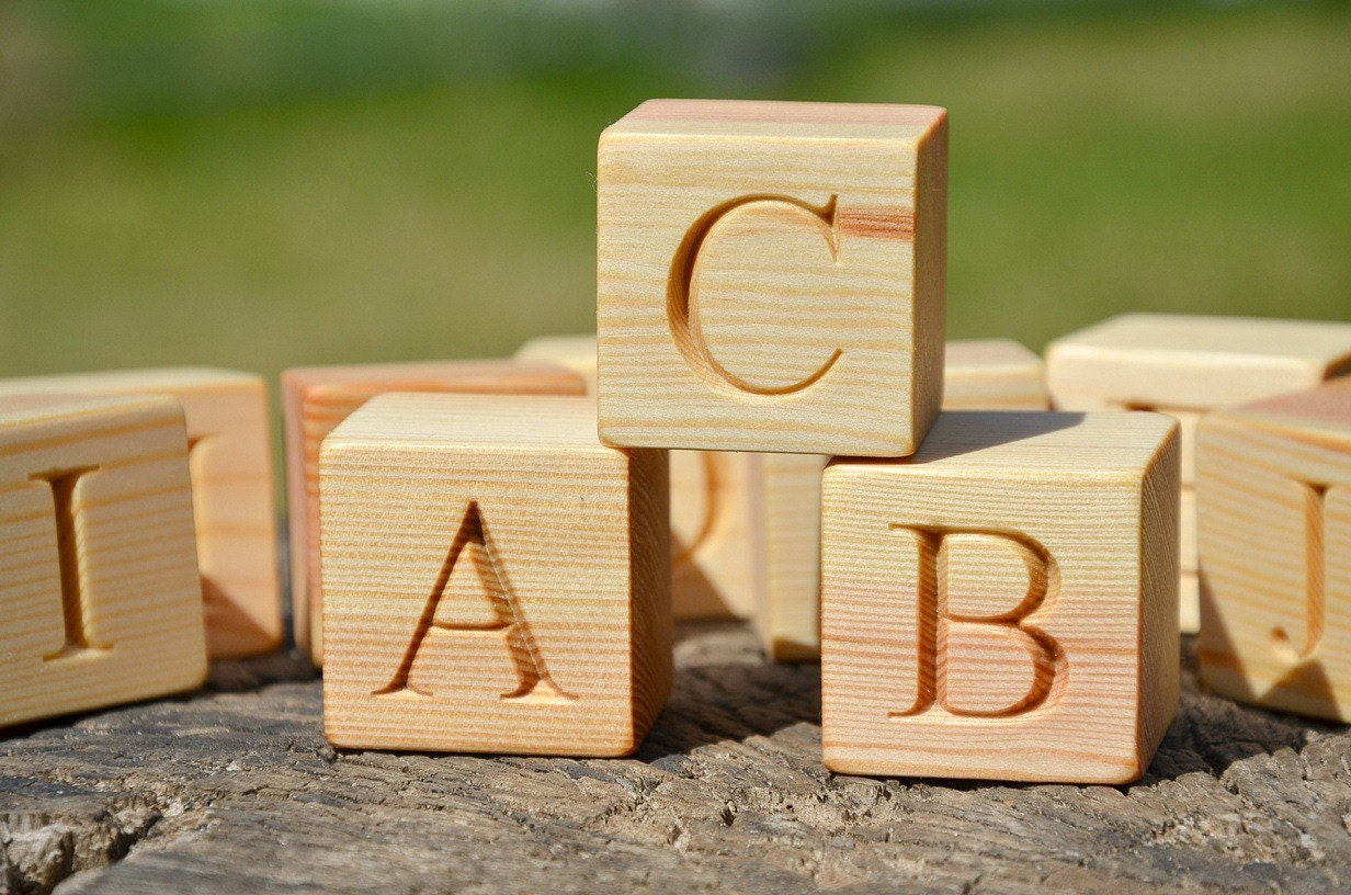 Big Wood Blocks ~ Large wooden alphabet block english abc blocks
