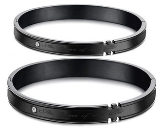 Our Flames of Love (Black) - Engraved Bracelets for Her / Personalized Bracelets for Him / Girlfriend and Boyfriend Bracelets