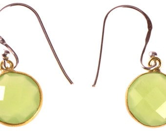 Silver earrings gold plated round stone calcite light green faceted earrings 925 Sterling Silver (No. OSG-71)