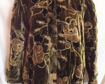 Jacket / jacket, short velvet dark green, flowers, Tibler, T 38 / 40.
