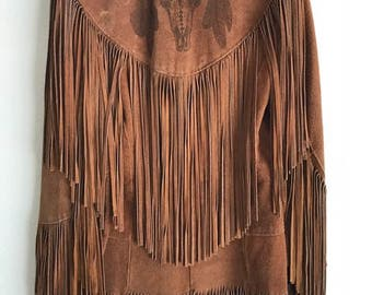 Vintage Leather Suede Fringe Jacket