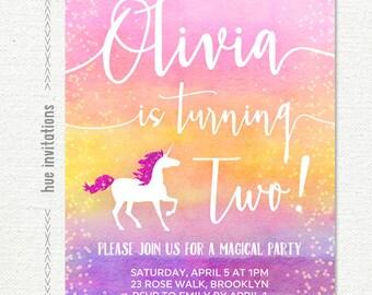 unicorn 2nd birthday invitation, ombre watercolor girls pink purple coral birthday party invitation, custom printable digital file