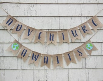 Adventure Awaits Banner, Adventure Awaits Baby Shower, Welcome to the World Baby Shower, Travel Baby Shower, World Baby Shower, Map Banner