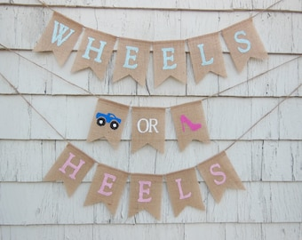Wheels or Heels Gender Reveal, Wheels or Heels Banner, Gender Reveal Party Decor, Gender Reveal Banner, Boy Or Girl Baby Shower Banner Sign