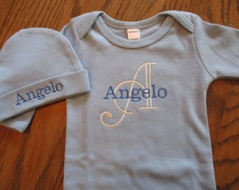 Baby Boy gown with initial and name, Personalized baby boy gown