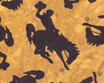 Hoffman Fabrics Dijon Yellow Large Wyoming Bucking Horse Bali Batik Fabric M2790-432-Dijon