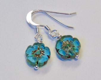 Simply turquoise bloom sterling silver earrings