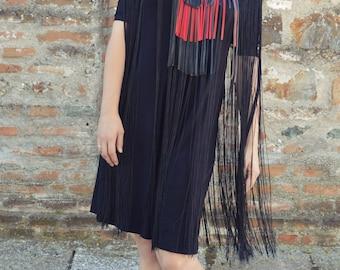 Black Fringe Jumpsuit, Short Summer Jumpsuit with Fringes, Casual Maxi Jumpsuit TJ31 by TEYXO