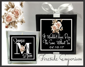PERSONALIZED Thank You Candle, Customer Appreciation Gift, Anniversary Favor, Wedding favor, Hostess gift with gift box, label and ribbon