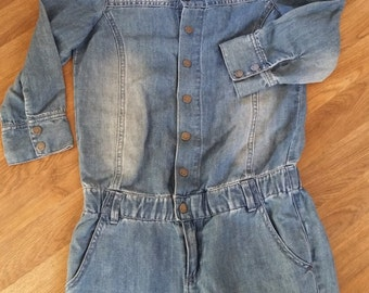 Denim Jumpsuit, 1980s DKNY Jumpsuit With Metal Snap Button Front, Excellent Condition