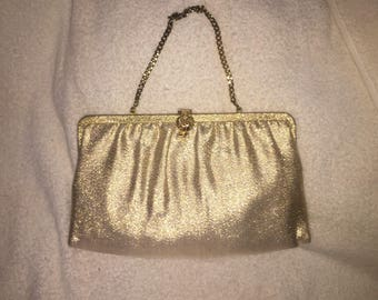 Vintage gold metallic evening handbag clutch
